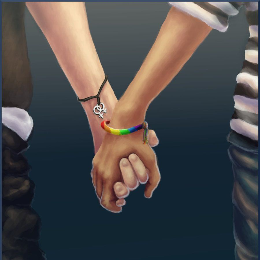 Hand in hand lesbian