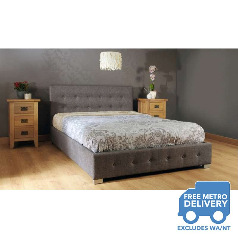 Wooden Gas Lift King Bed Frame In Grey Fabric Buy King Size Bed