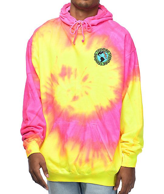 44bb7c340a Teenage Madness Pink & Yellow Tie Dye Hoodie in 2019 | W49 | Tie dye ...