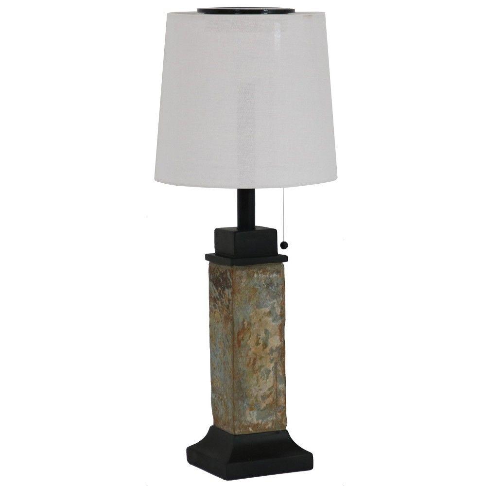 25 Outdoor Solar Table Lamp With Slim Slate Base Sunnydaze