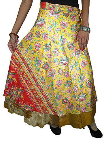 Womans Sari Wrap Skirt Two Layer Yellow Gold Printed Long Vintage Silk Sarong Skirts Mogul Interior http://www.amazon.com/dp/B00PACKFVM/ref=cm_sw_r_pi_dp_.2oxub00B8ED2