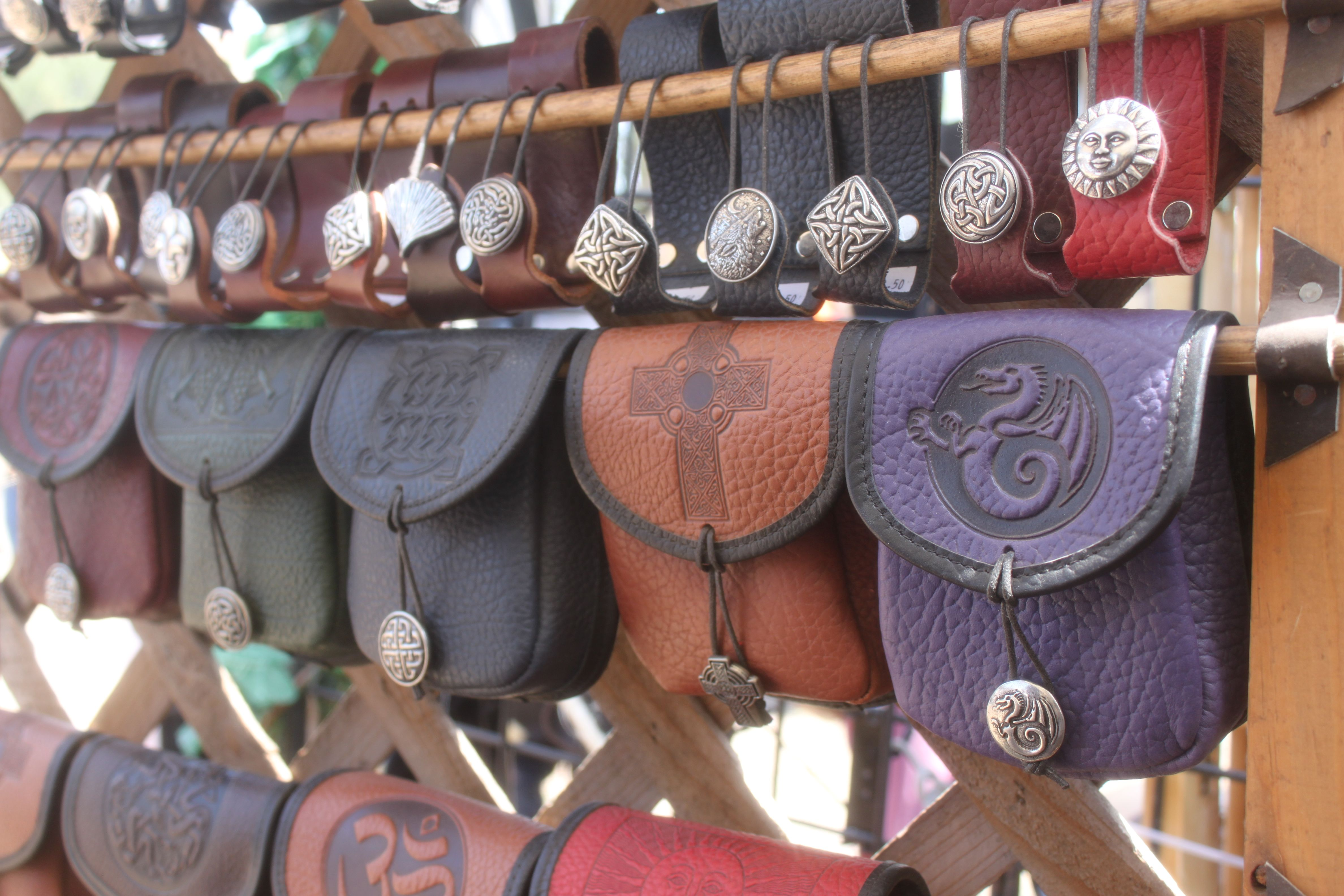 Leather coin pouch Medieval cosplay for renaissance fair.