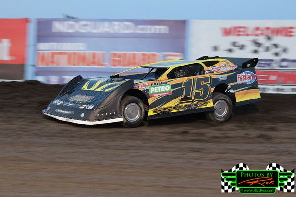 Donny Schatz from fargo ND in his new #15 Late Model leading the race field on the cushion at The Legendary Bullring River Cities Speedway i...