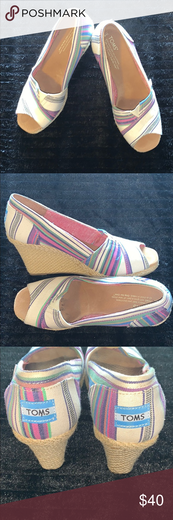 TOMS Wedges Multi color stripe design open toe wedges. EUC very cute can be casual or dressed up Toms Shoes Wedges #tomwedges