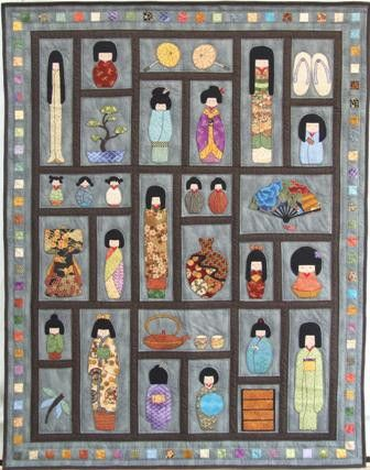 That Japanese Doll Quilt Doll Quilt Kokeshi Dolls And Okinawa