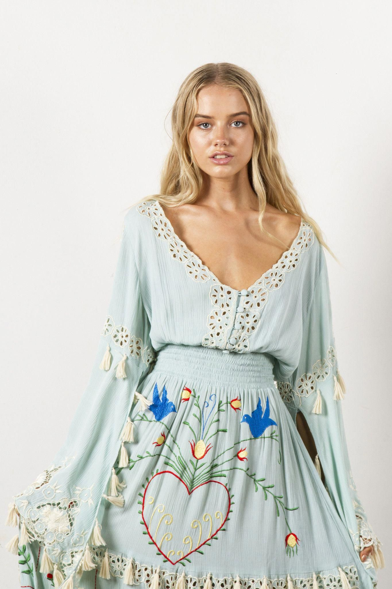 721fc0ef34c FILLYBOO -  LITTLE BEAR  - HAND EMBROIDERED MAXI DRESS - PASTEL JADE   daydresses