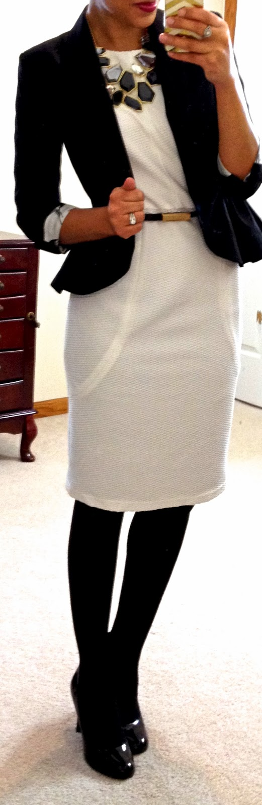 Hello, Gorgeous!: threads. White sheath dress c/o Catch Bliss Boutique  Black peplum jacket  Skinny black belt  Black opaque tights  Black round-toe pumps  Necklace from eBay