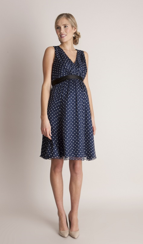 8de7e278e72 Seraphine Navy Polka Dot Silk Maternity Evening Dress
