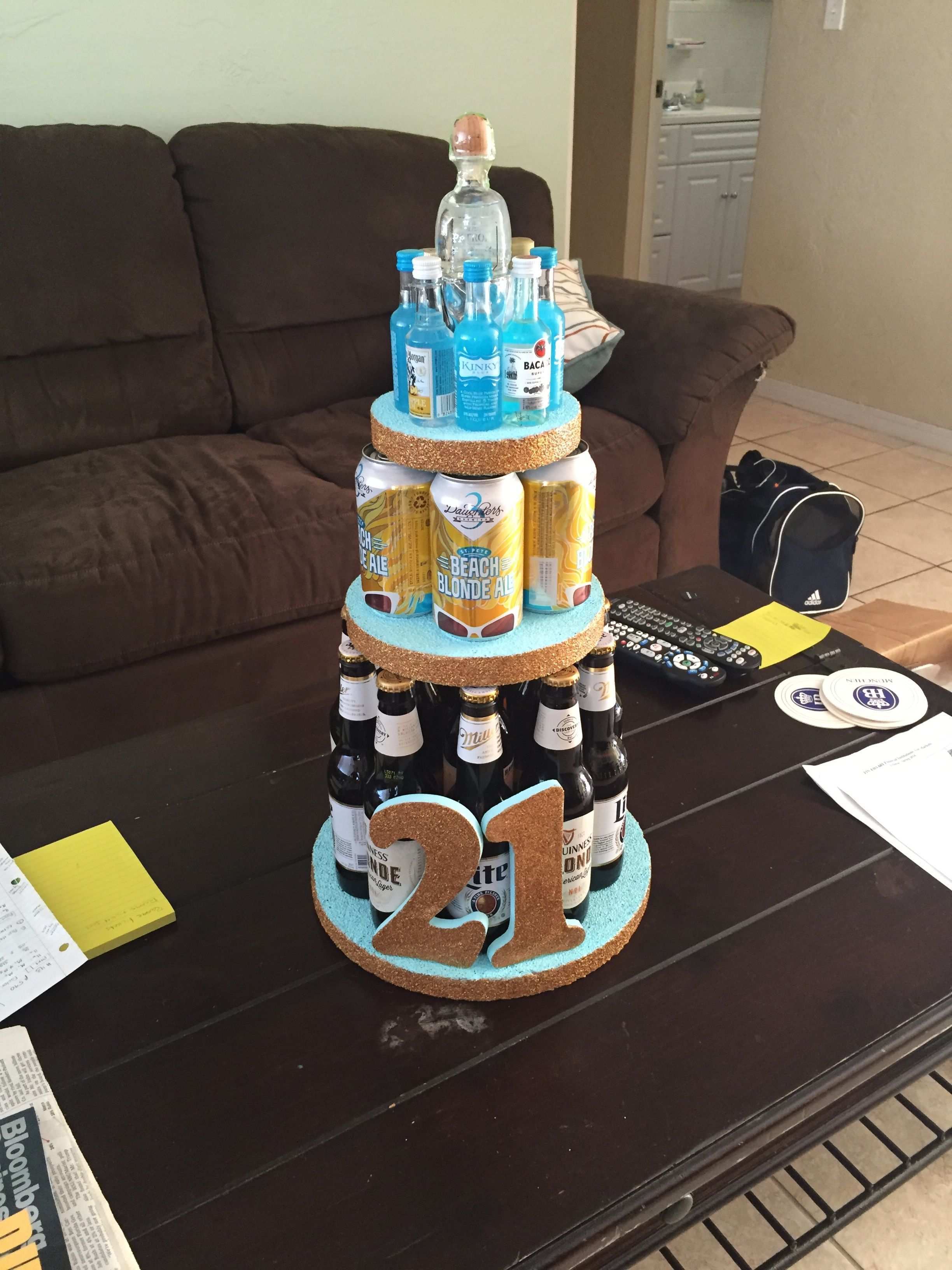 Enjoyable Alcoholic Cake Tower For My Best Friends 21St Birthday With Funny Birthday Cards Online Alyptdamsfinfo