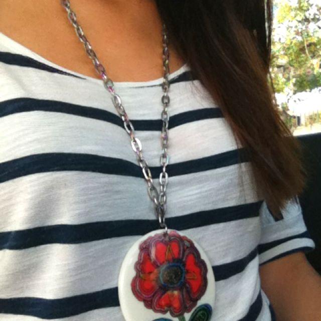 stripes & flower necklace. me, @ayflaca.