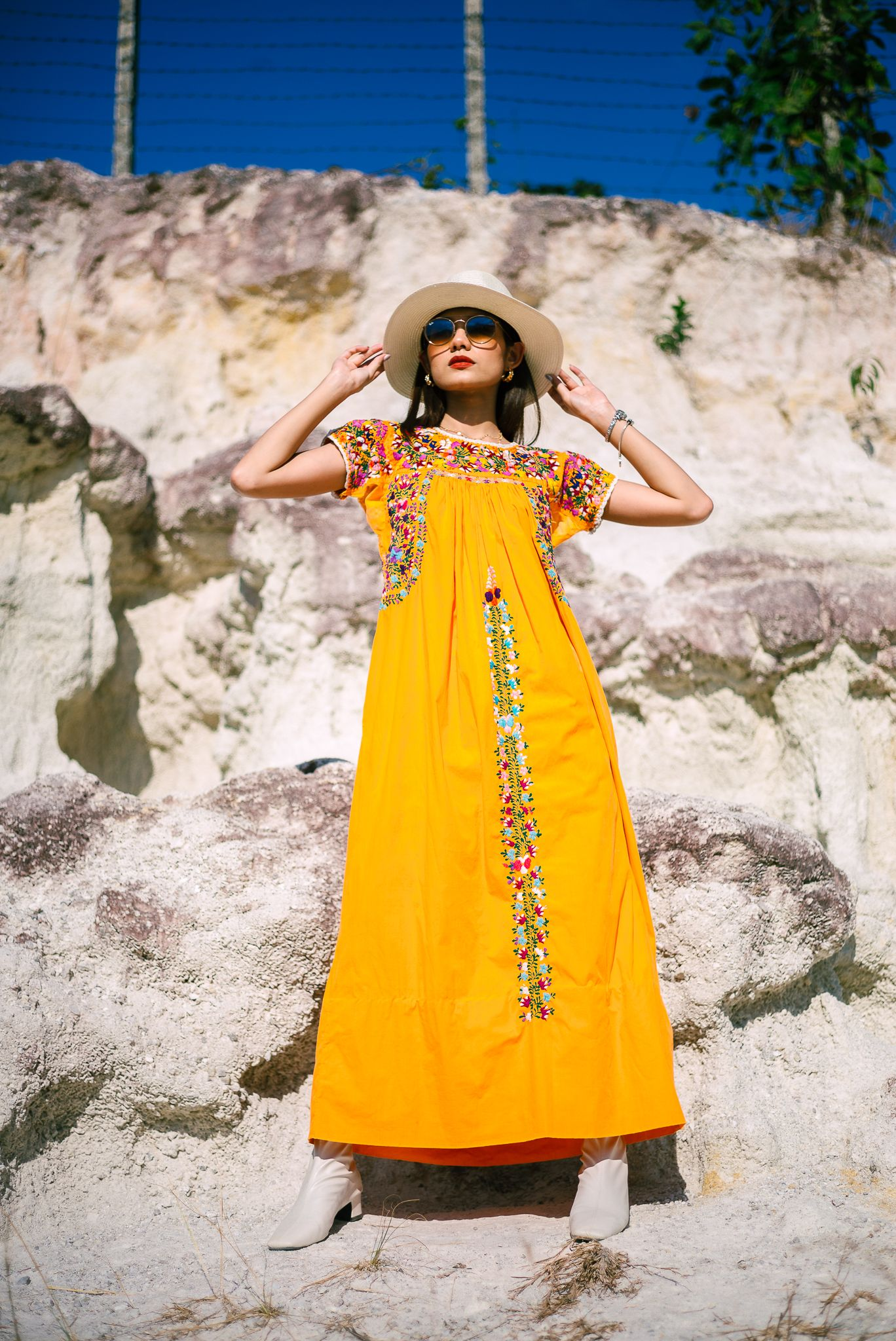Vintage Oaxacan Maxi Dress Mexican Dress With Floral Embroidery Boho Orange Cotton Floral Fiesta Dress Mexican Dresses Maxi Dress Dresses [ 2048 x 1368 Pixel ]