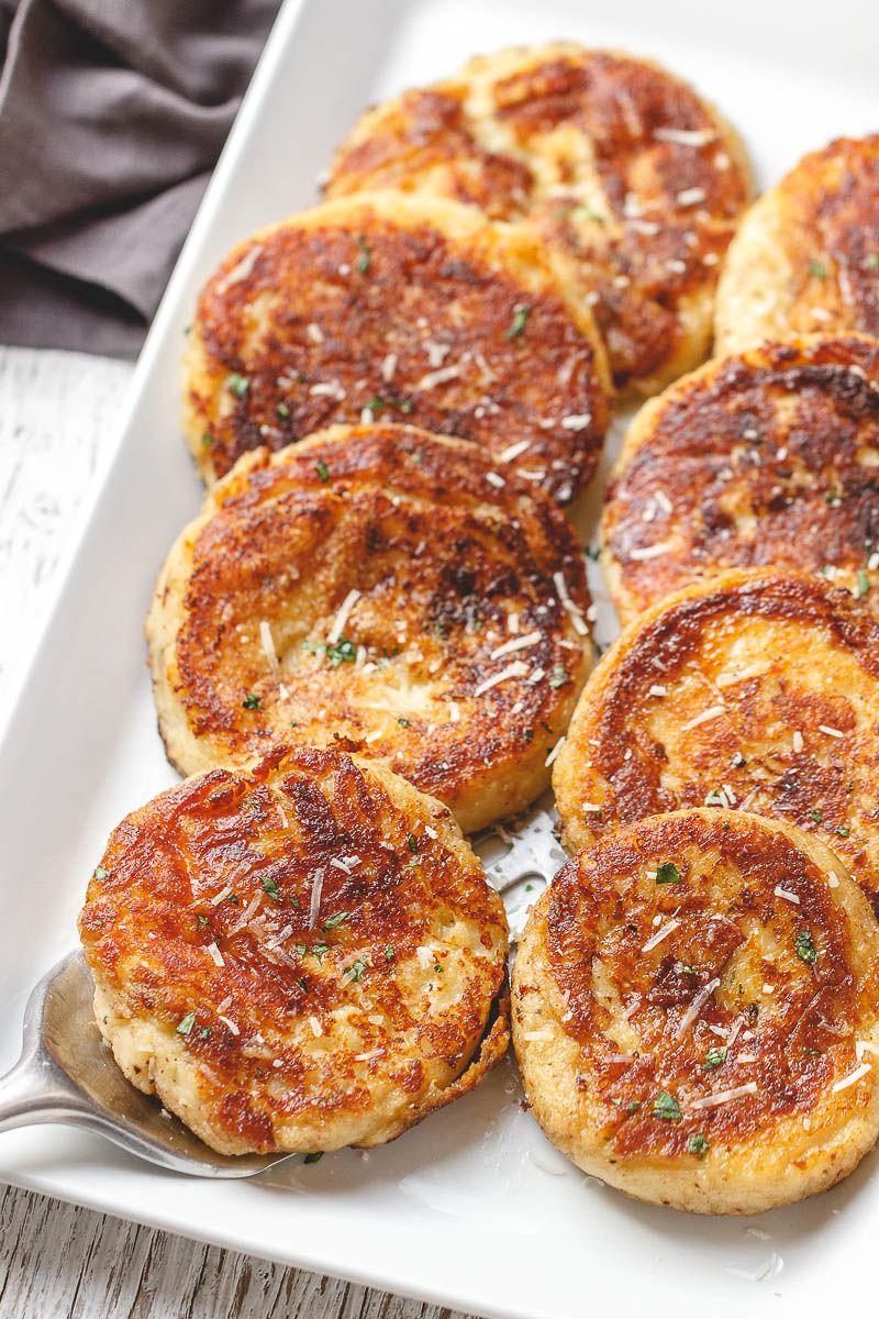 Garlic Parmesan Mashed Potato Cakes