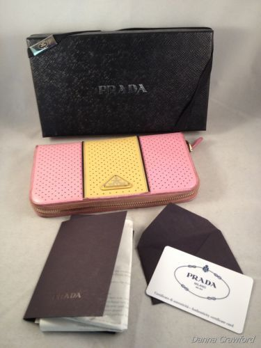 efb550679984 ... ebay prada authentic wallet zip around pink yellow leather staffano fori  clutch purse sold on d457a
