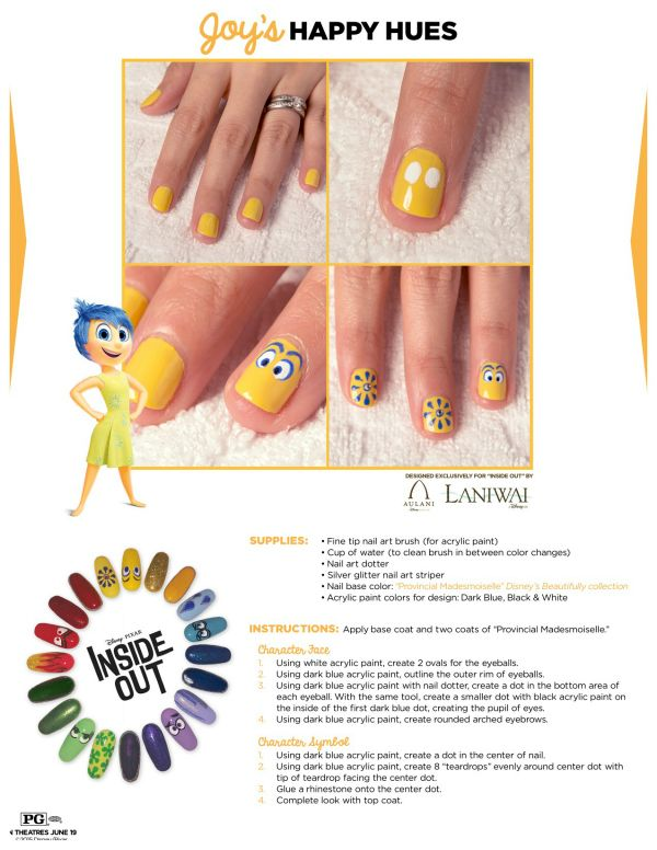 Disney Inside Out Joy Nail Art Tutorial | Printable Coloring Pages ...