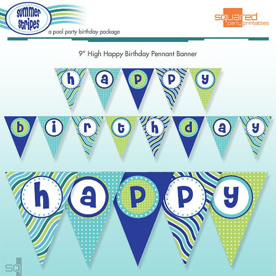 Printable Pool Party Happy Birthday Banner