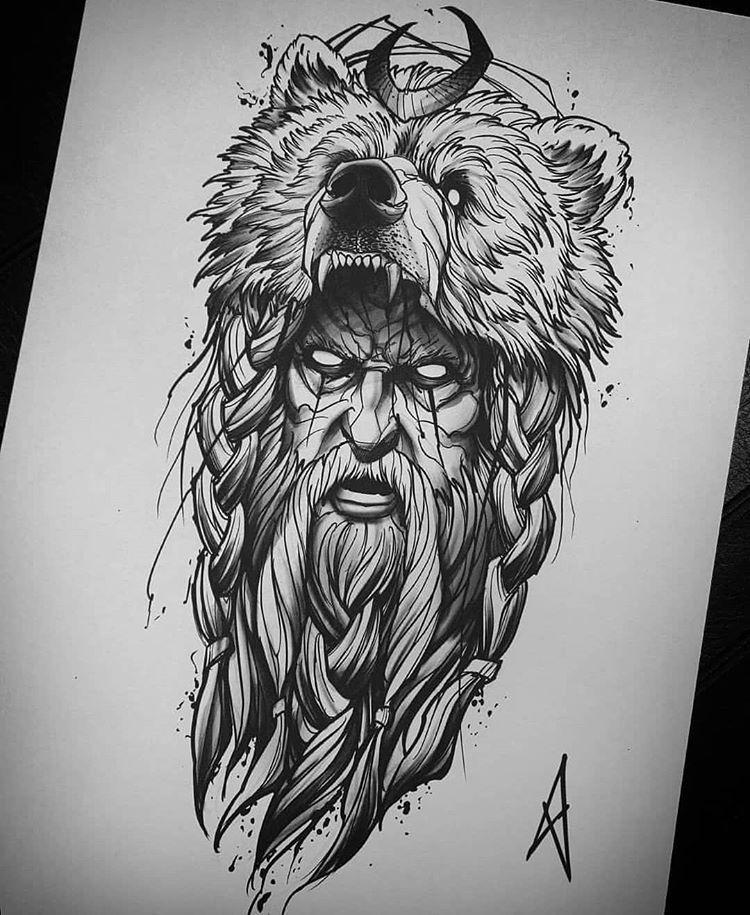 Pin By Bbryson On Tattoos In 2020 Mythology Tattoos Nordic Tattoo Bear Tattoo Designs