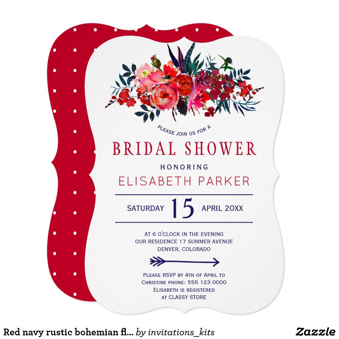Red navy rustic bohemian floral bridal shower invitation in 2018 ...