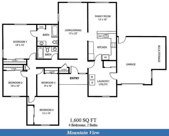 Nas Fallon Mountain View Neighborhood 4 Bedroom Floor