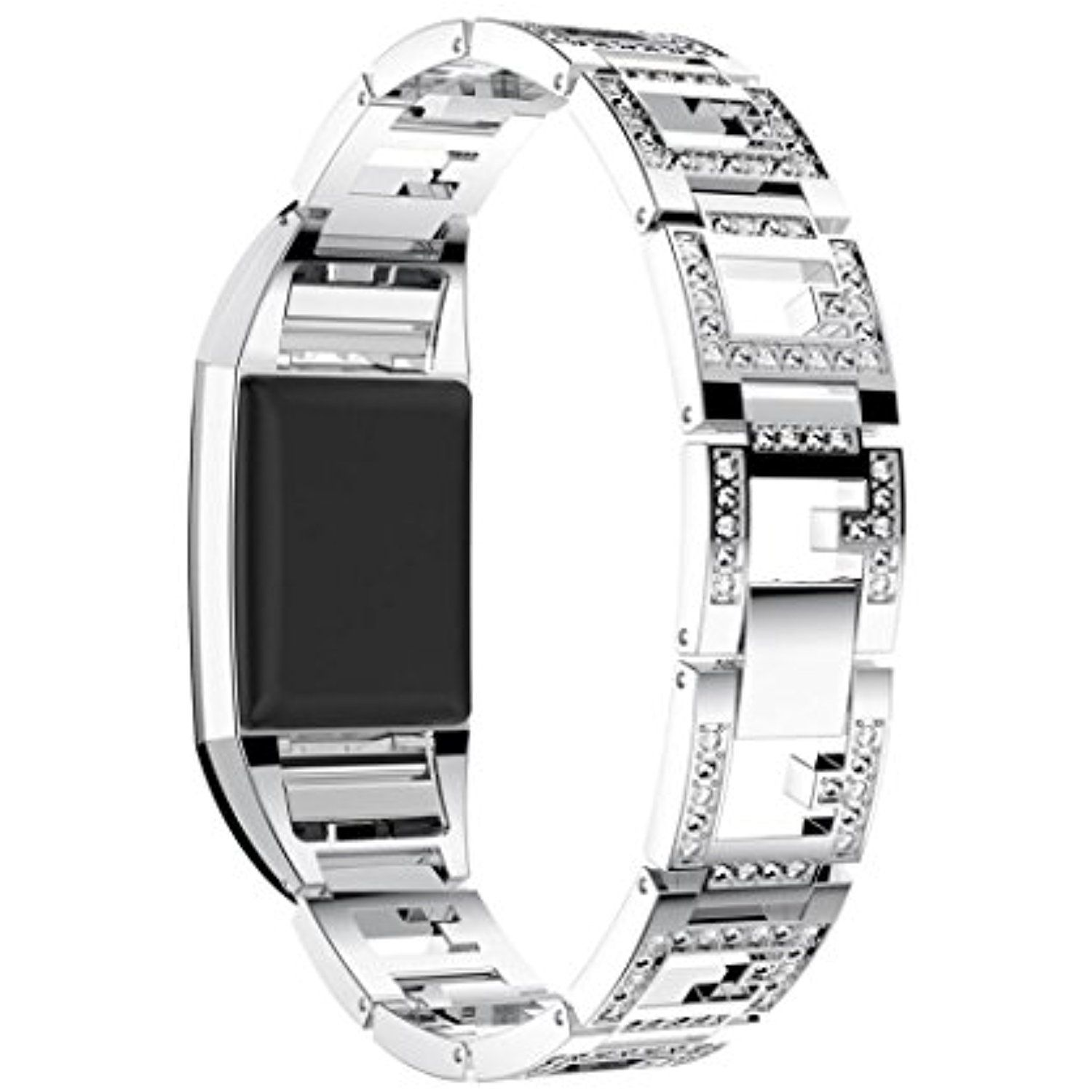 For Fitbit Charge 2 Bands Hp95 Tm Luxury Stainless Steel Watch Band Wrist Strap For Fitbit Charge 2 Silver Check Adjustable Bracelet Fitbit Silver Watch