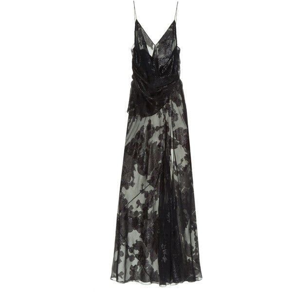 Saint Laurent Floral fil coupé gown (6.245 BRL) ❤ liked on Polyvore featuring dresses, gowns, saint laurent, long dresses, evening, gown, black, floral dress, flower print dress and long slip dress