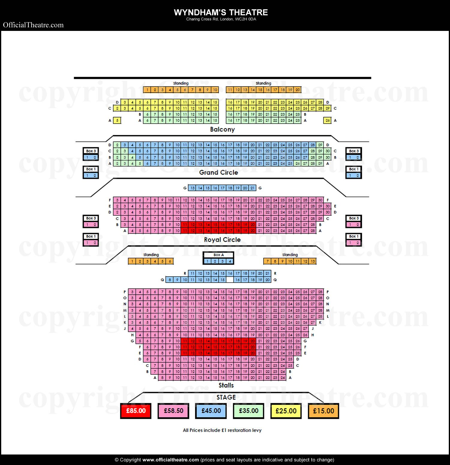 Wyndhams Theatre Seating plan and price guide