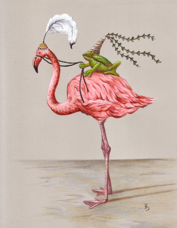 Meishe Art Poster Print Retro Vintage Birds Antique Red Flamingo Pelican Wild Animals Decorative Illustration Home Wall Decor A