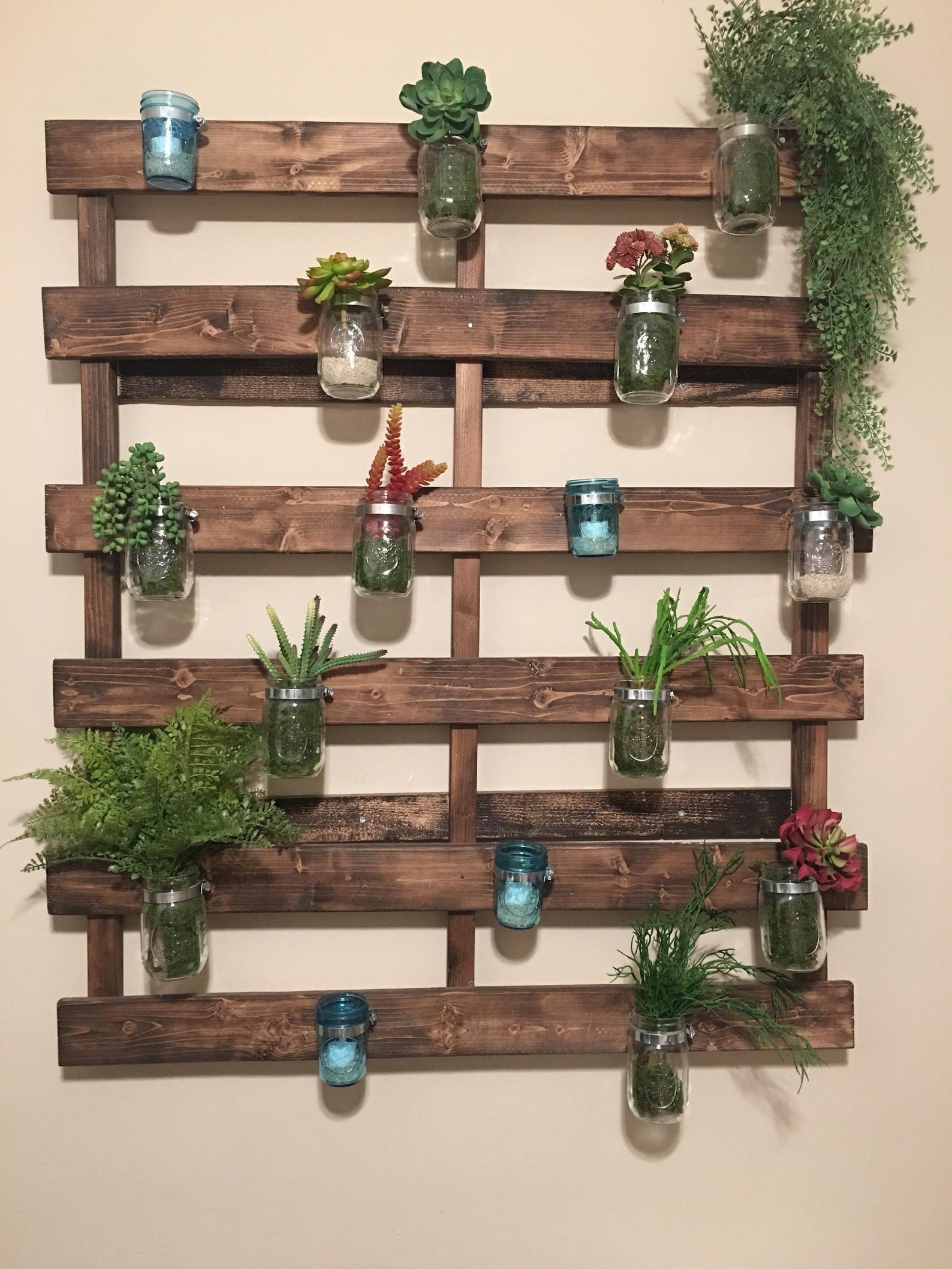 Wood Pallet Mason Jar Hanging Garden Garden Wall Decor Hanging Garden House Plants Decor