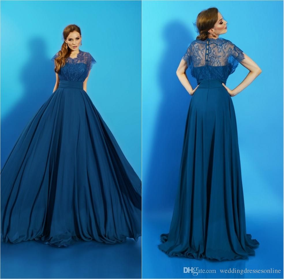 Lace short sleeves long prom dresses vintage chiffon jewel neck