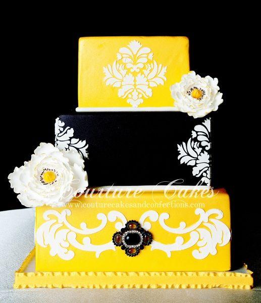 black & yellow cakes | Yellow, Black and White Damask Cake | ~Let ...