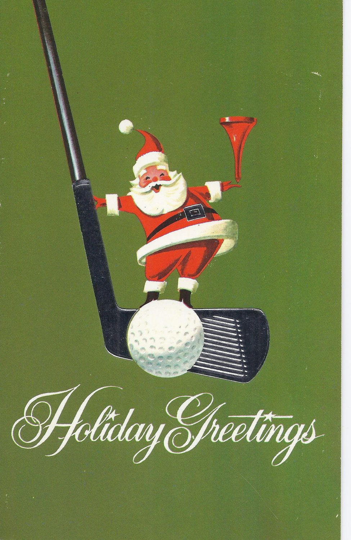 C60 Vintage Greeting Card - Christmas Santa with golf club | Xmas ...