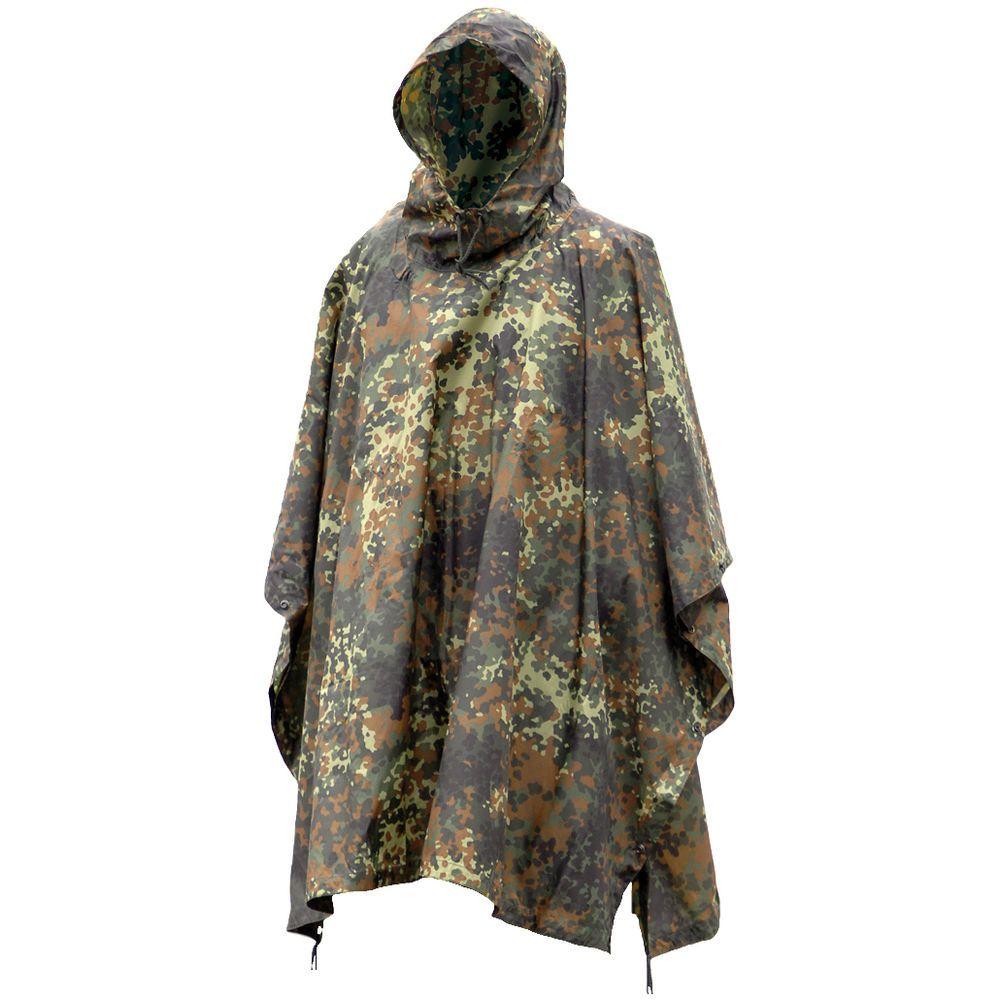 PONCHO Waterproof Hooded RIPSTOP w// GROMMETS /& SNAPS Flecktarn Camo Mil-Spec
