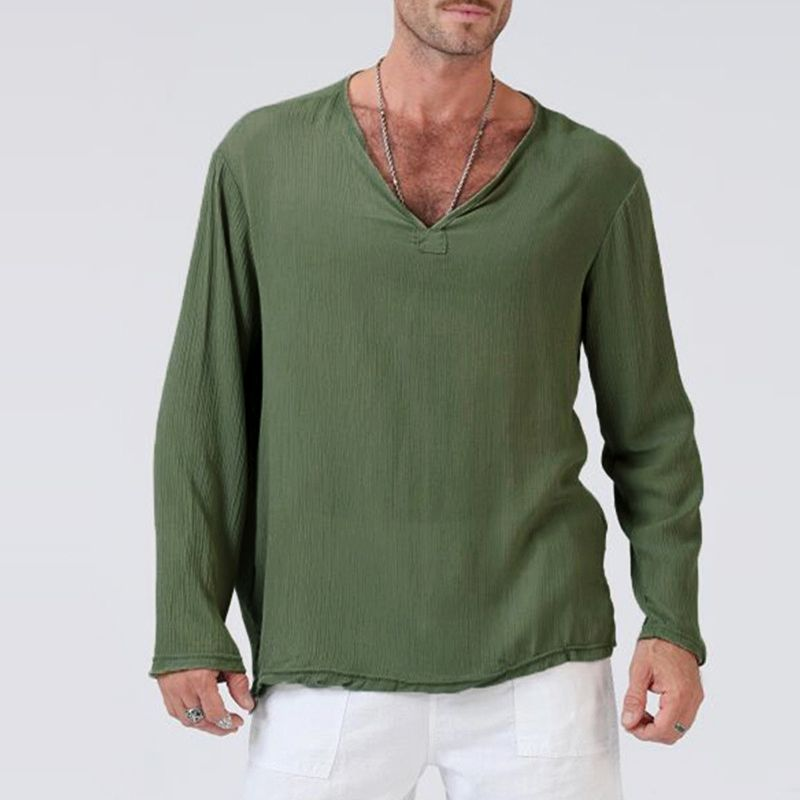 Men/'s Long Sleeve Shirt Summer Cool Loose Fit Casual V-Neck Pullover Shirts Tops