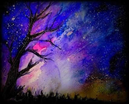 Night Sky Colored Pencil Drawing Bestpencildrawing