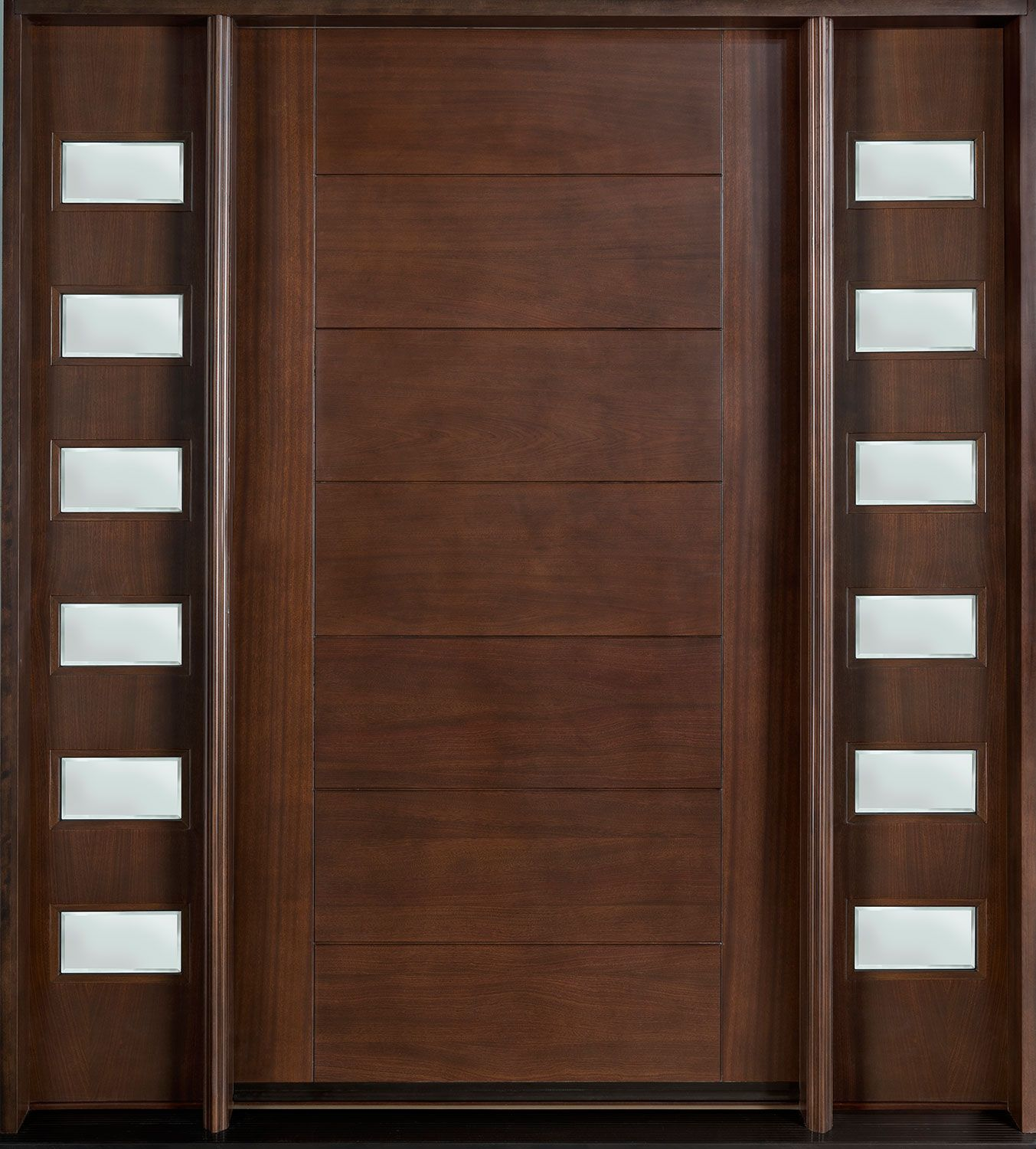 Front door custom single with 2 sidelites solid wood for Contemporary door designs