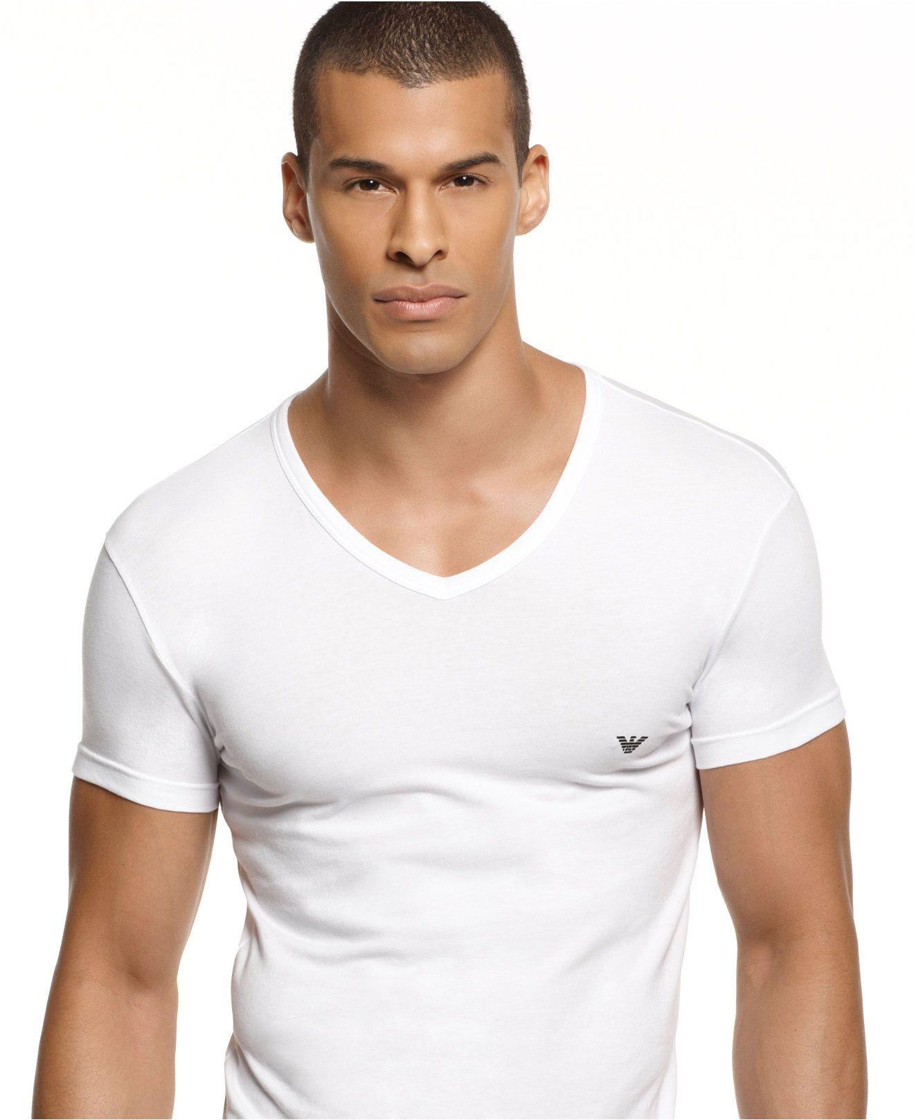 emporio armani men's underwear, classic eagle v-neck Undershirt ...