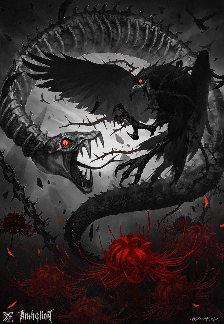 Картинки ворон и дракон