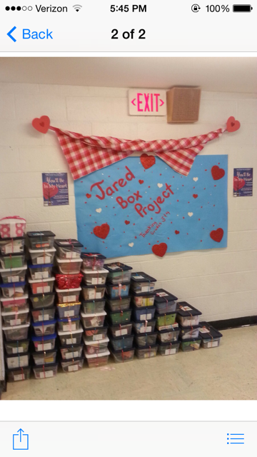 Corl Street Elementary School made Jared Boxes for a Valentine's Day