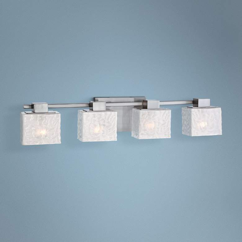 """Photo of Quoizel Melody 33 """"wide brush nickel 4-light bathroom mixer – # 6N595 