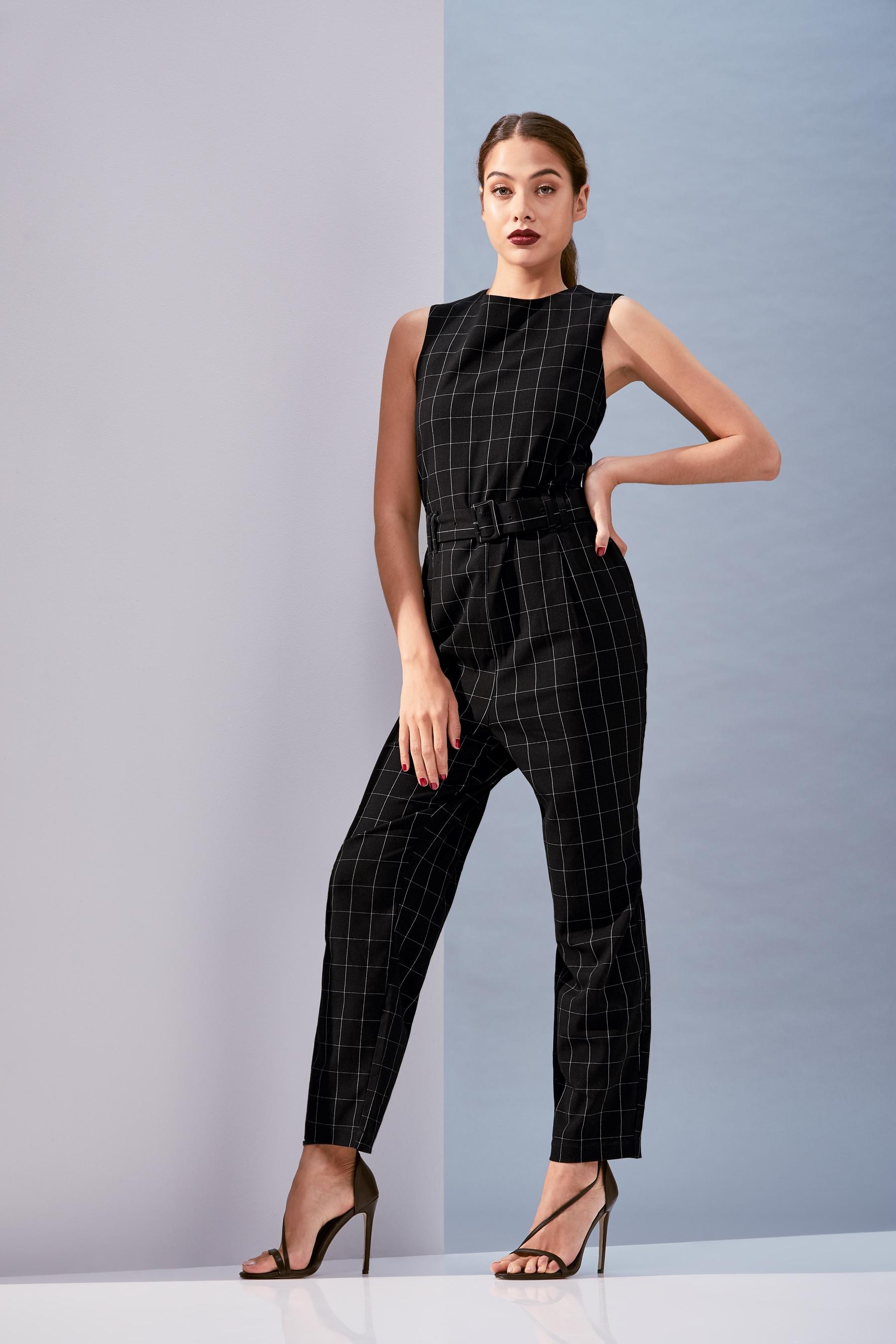 01e9c7e8b410 Womens Vero Moda Check Jumpsuit - Black   Products   Jumpsuit, Vero ...