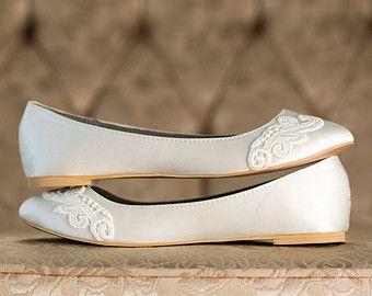 Wedding Shoes Ivory Bridal Flats By Walkinonair