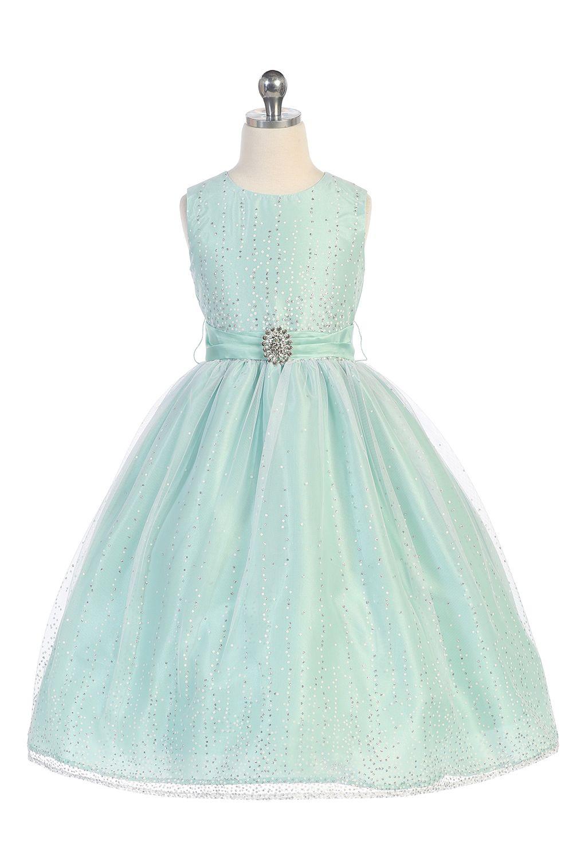 Mint Classic Glitter Tulle Overlaid Flower Girl Dress T5632-MT ...