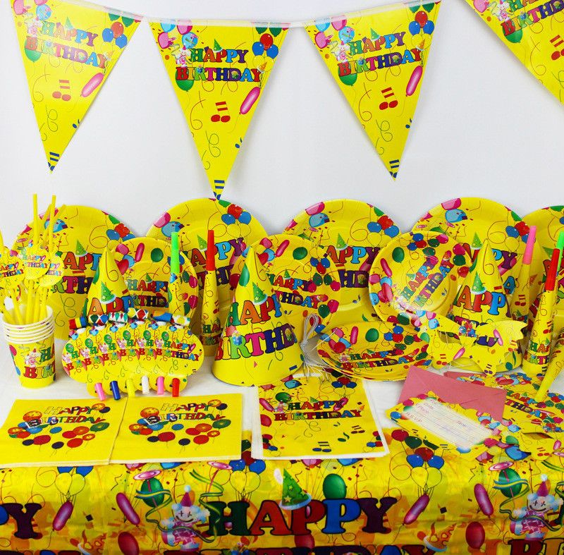 Luxury Kids Colorful Balloons Theme Birthday Party Supplies Tableware 90Pcs/Set