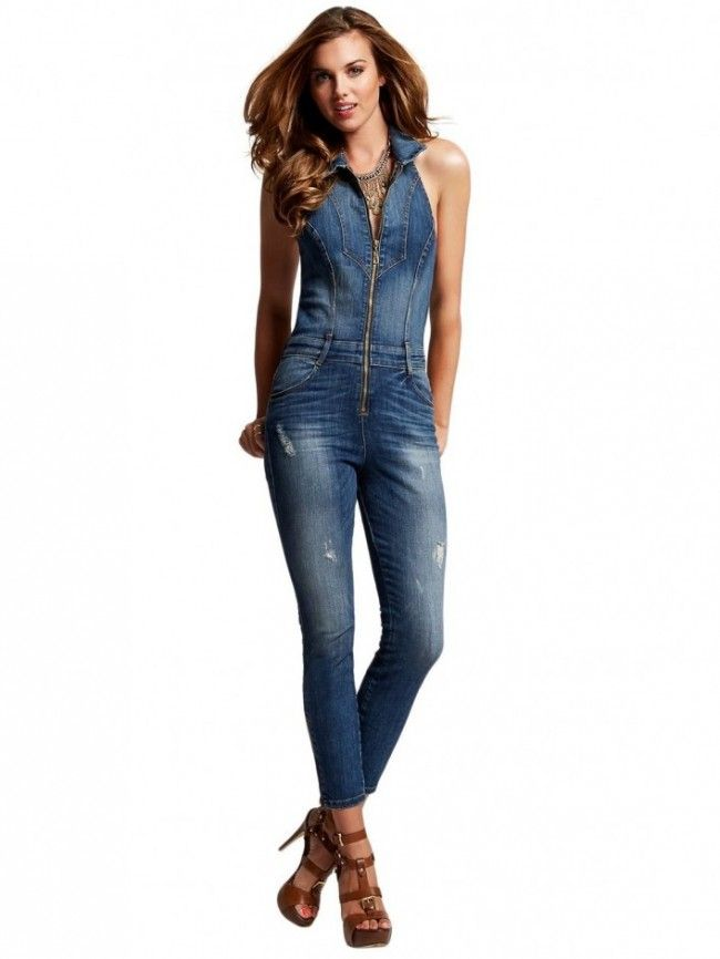 0055d1091494 GUESS Women s Halter Denim Jumpsuit in Sherry Wash