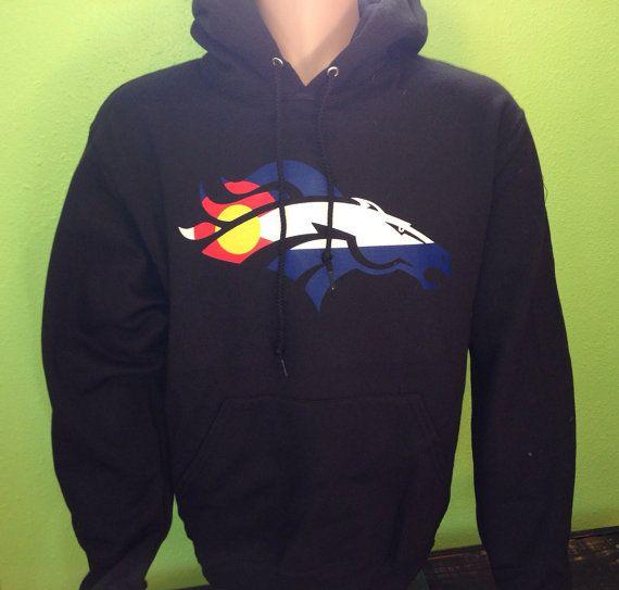 denver broncos with colorado flag colors team sport football fan hoody hoodies sweatshirt - Denver Bronco Colors