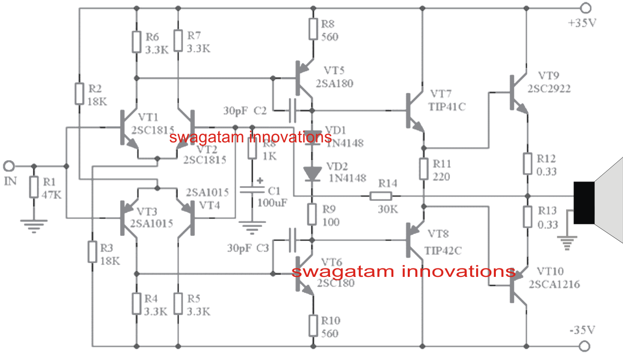 hight resolution of simple 150 watt amplifier circuit using transistors