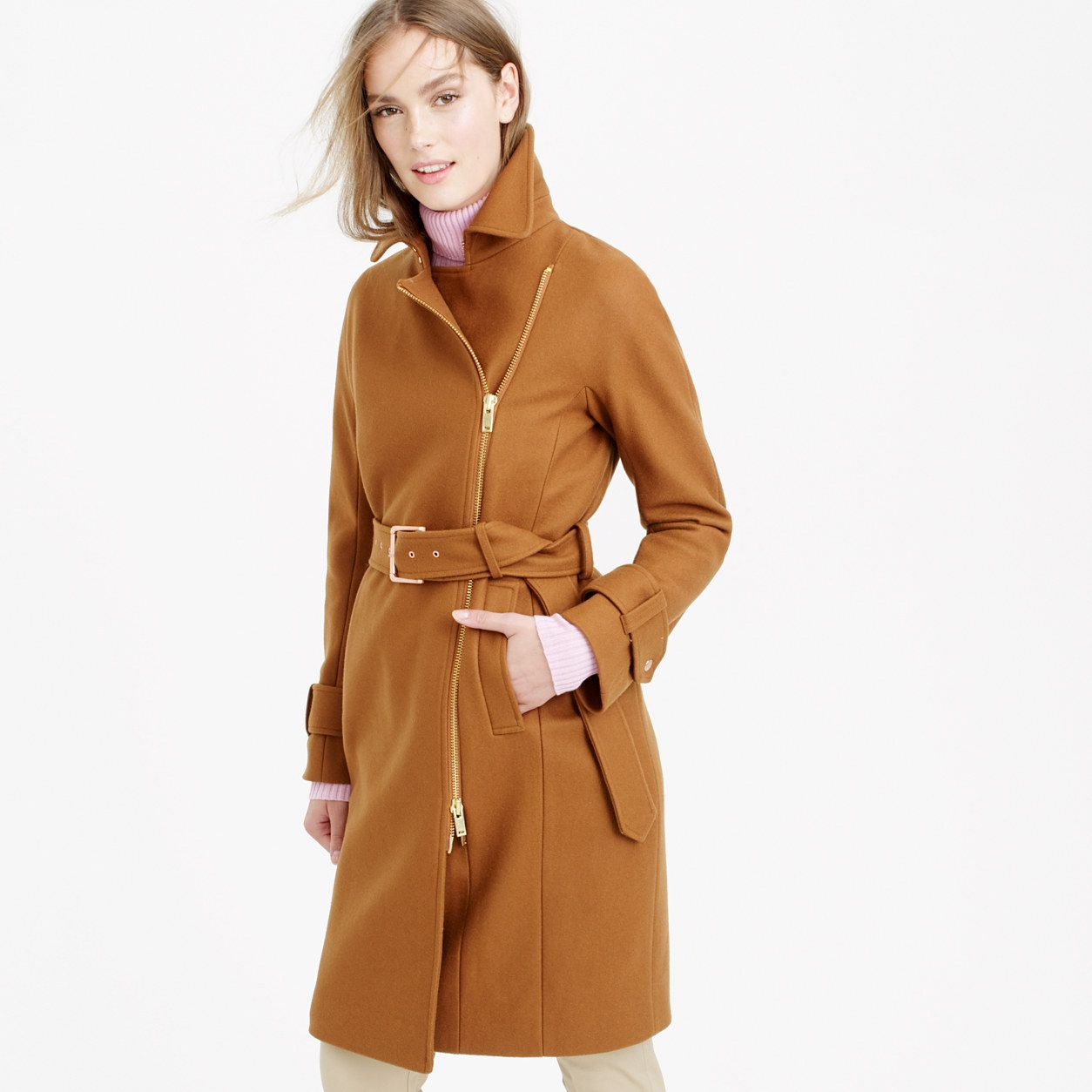 Belted zip trench coat in wool melton : coats & jackets | J.Crew ...