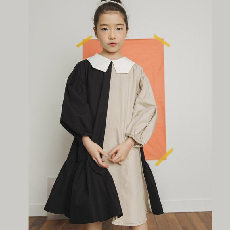 a969aae8f96ff Brand New 2019 Girl Dress Two Colors Patchwork Children Cotton Dress ...