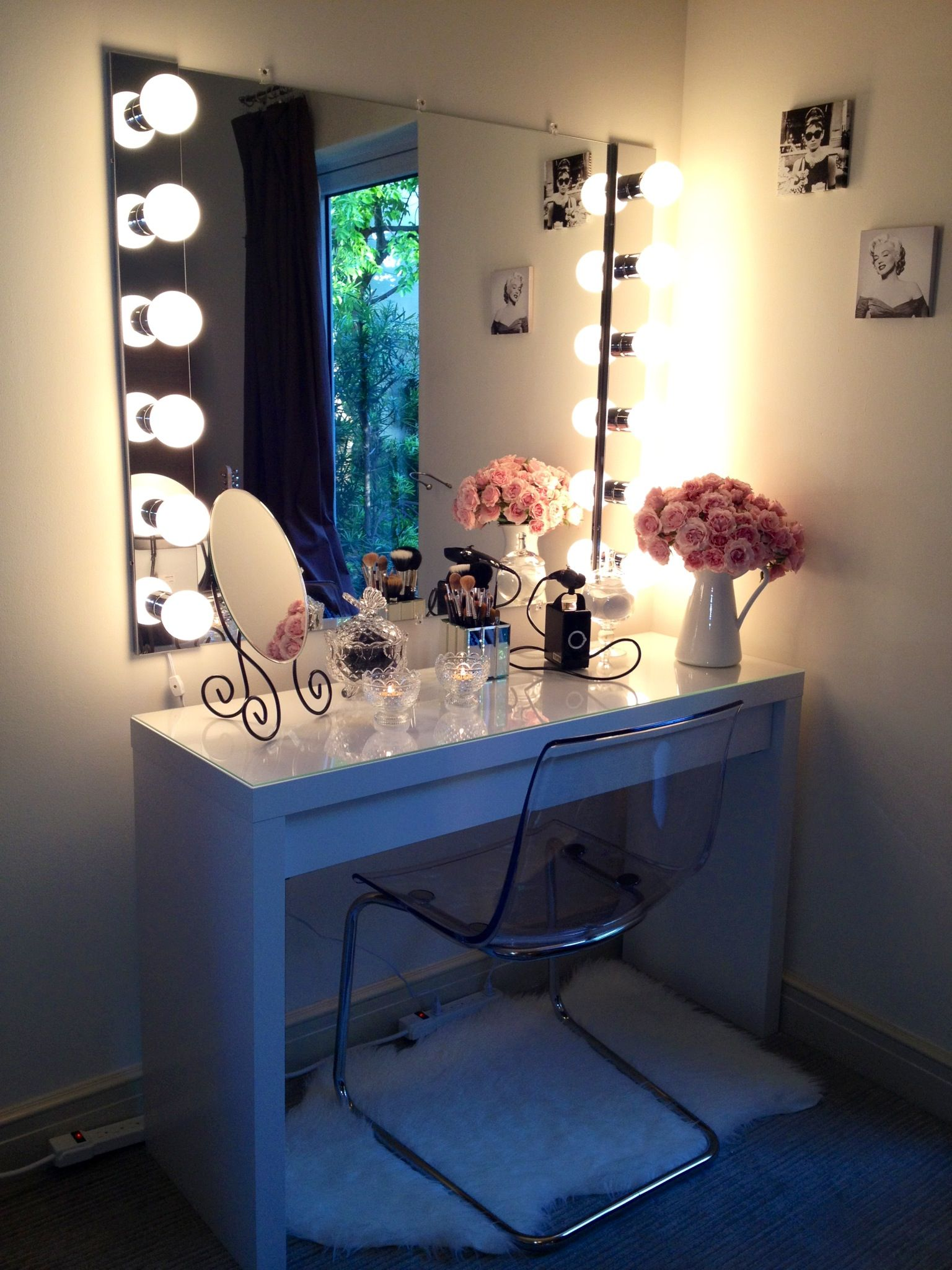 IKEA Malm Dressing Table   Makeup Vanity And That Mirror With Lighting  (maybe Smaller)