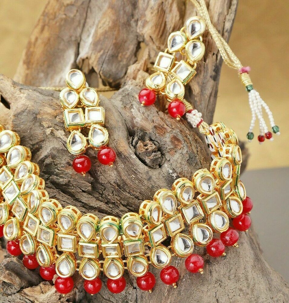 India Gold Plated Red Kundan Choker Necklace Earrings Women Bollywood Jewelry