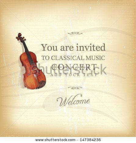 Vintage Viola Concert Invitation - stock vector